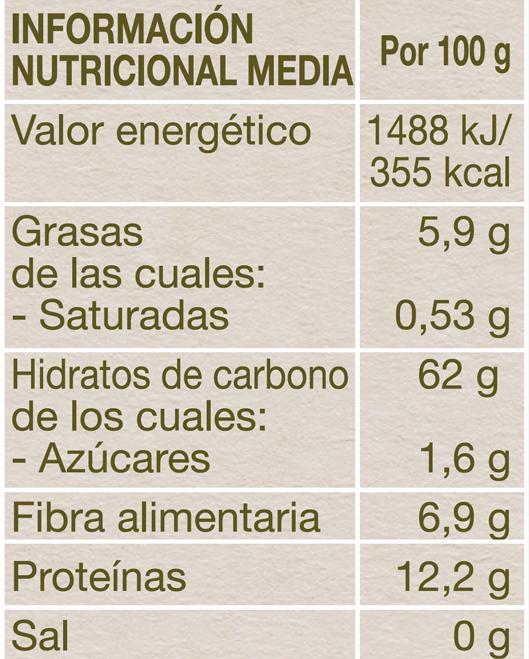 Información nutricional copos avena